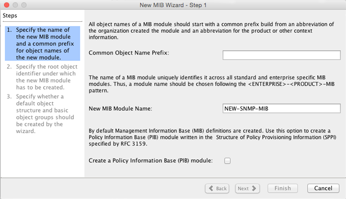 MIB Designer New MIB Wizard Step 1